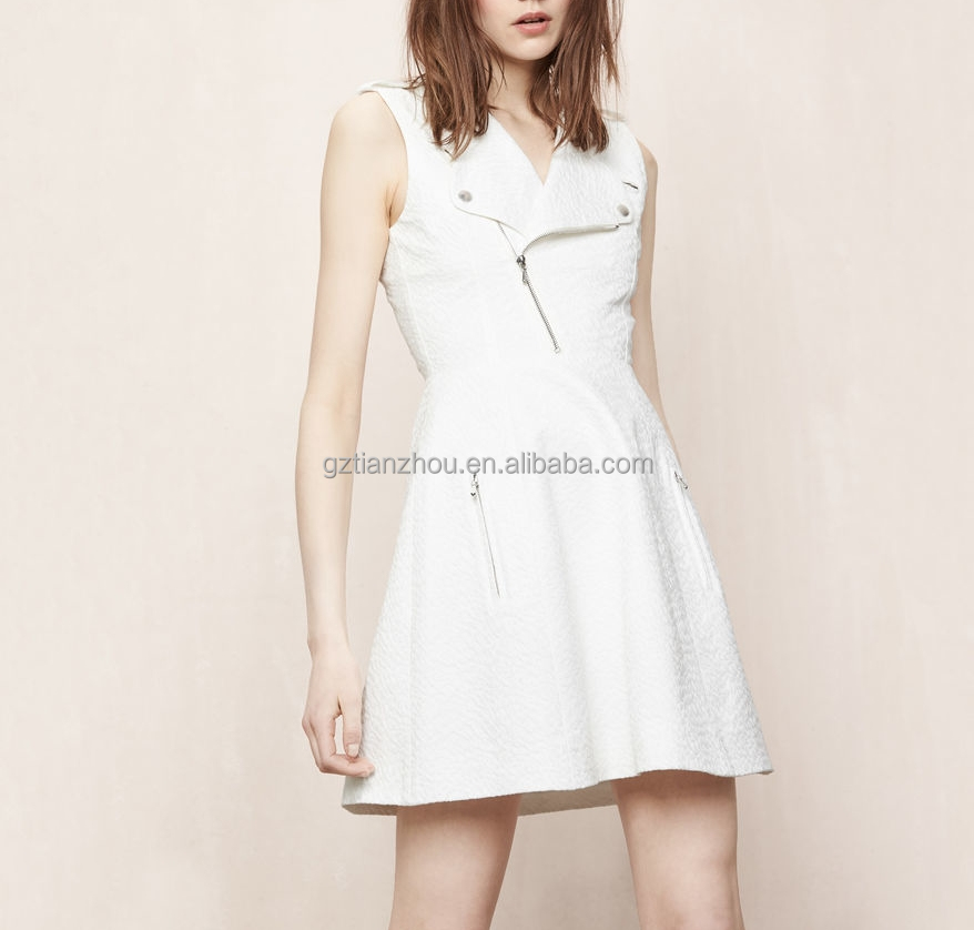 China good price OEM wholesale sleeveless tailored collar zipper pocket shoulder tabs highly original Biker-style dress women