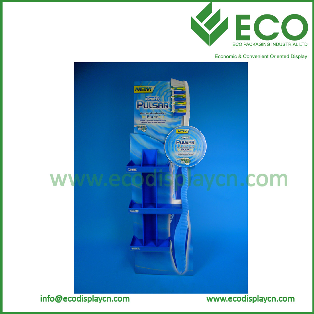 Corrugated Cardboard Display Stand Retail Rack For Toothbrush