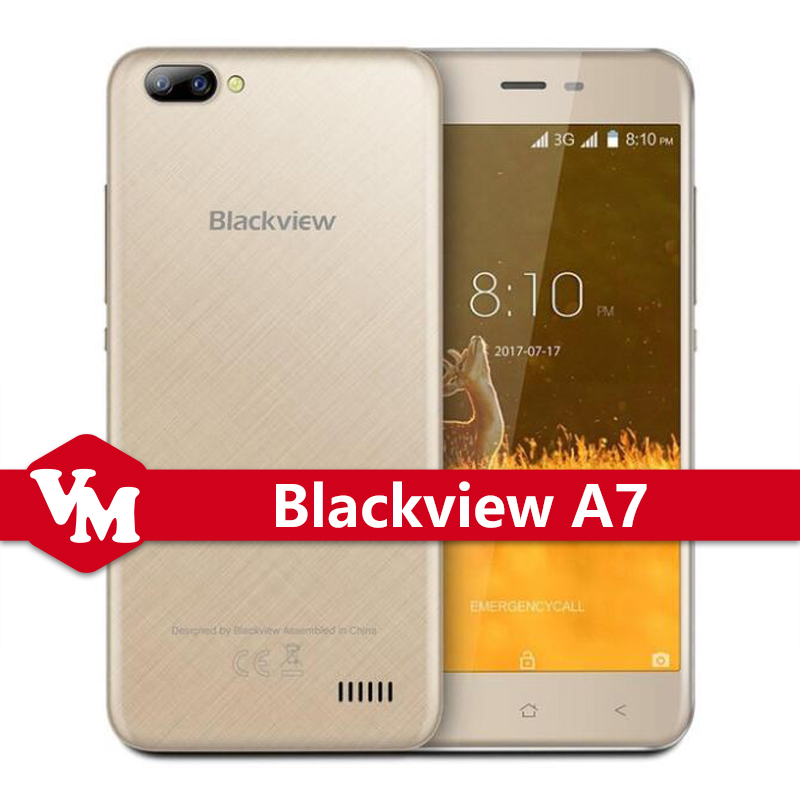 "Original Blackview A7 A7 MTK6580A Quad Core Cell Phone 1GB RAM 8GB ROM Android 7.0 Smartphone 5"" Dual SIM 3G WCDMA Mobile Phone"