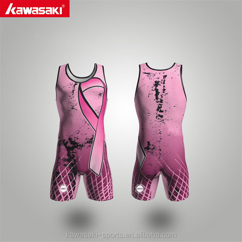 Top selling cheap o-neck custom youth pink wrestling singlet