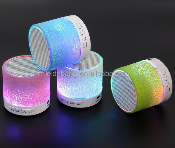 New products 2017 colorful breathing light mini bluetooth speaker with tf card MP3