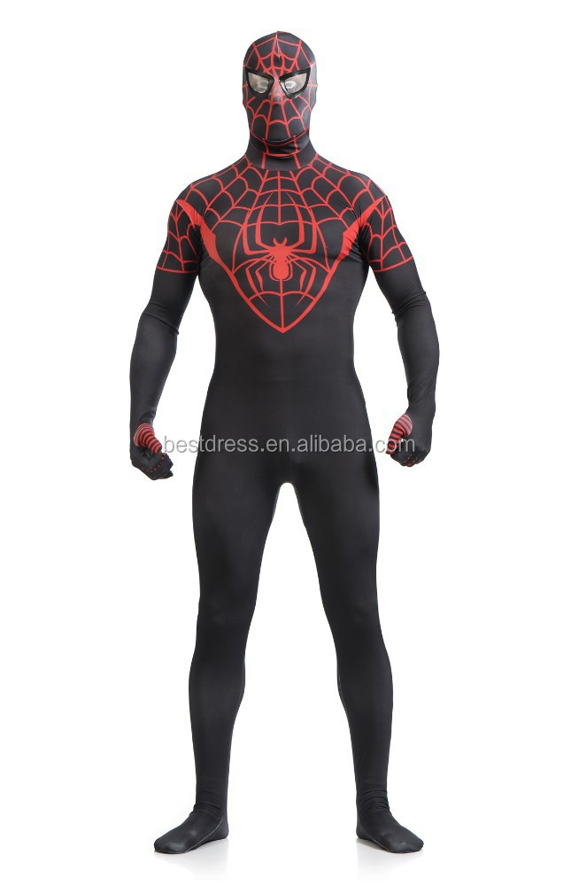 Black Spiderman costume adult Halloween costumes for men Spandex ...