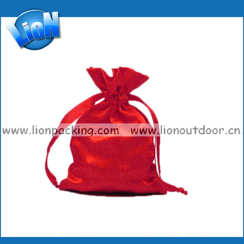 red drawstring satin candy pouch for wedding
