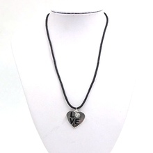 New Designs Popular Love Heart Pendant Fake Crystal Leather Necklaces