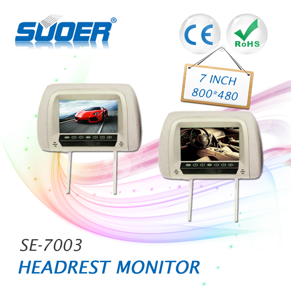 Suoer High quality 7 inch universal car LCD headrest monitors car rear seat dvd player