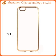 High Quality electroplated gloss clear tpu cover for iphone 6, for iphone 6 case clear, cheap case for apple iphone