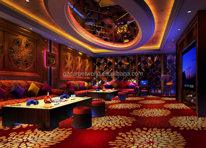 Red Pattern Wall To Wall KTV Commerical Carpet For Sale In Guangzhou Port