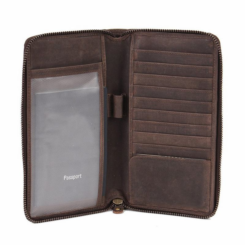 Antique crazy horse leather RFID passport wallet leather zippered passport holder wallet