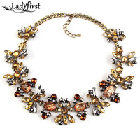 2016 Ladyfirst Acrylic Flower vintage Statement Femme Crystal Costume Accessories Necklaces & pendants Mai Collar Necklace 2954