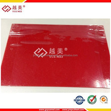 YUEMEI High quality flat 4mm to12mm thick red transparent solid polycarbonate roof sheet