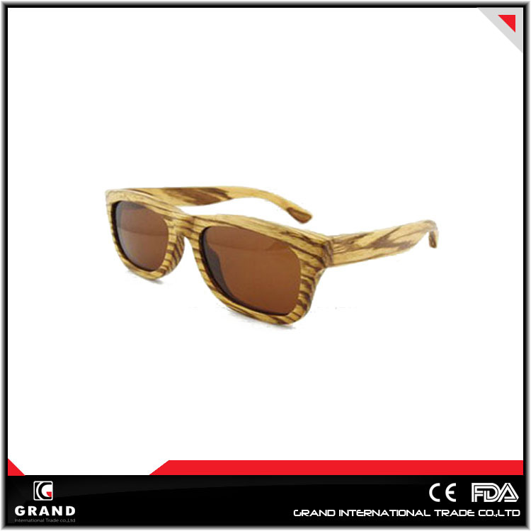 fashion design 2015 popular trendy zebra round frame wooden polarized sunglasses test cards