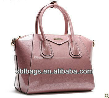 Hot selling shinning PVC handbags, colorful PVC ladies bag, trapeze Bag