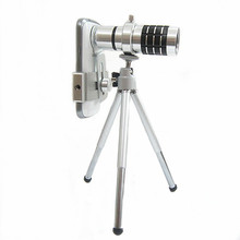 Silver Aluminium Alloy Mobile Phone Lens 12x Zoom in Telescope Optical Telephoto Lens for iPhone Samsung Smartphones