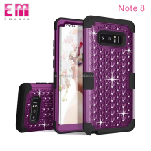 Shockproof crystal shell pc silicone phone case for Samsung galaxy note 8 bling 3 in 1 phone cover