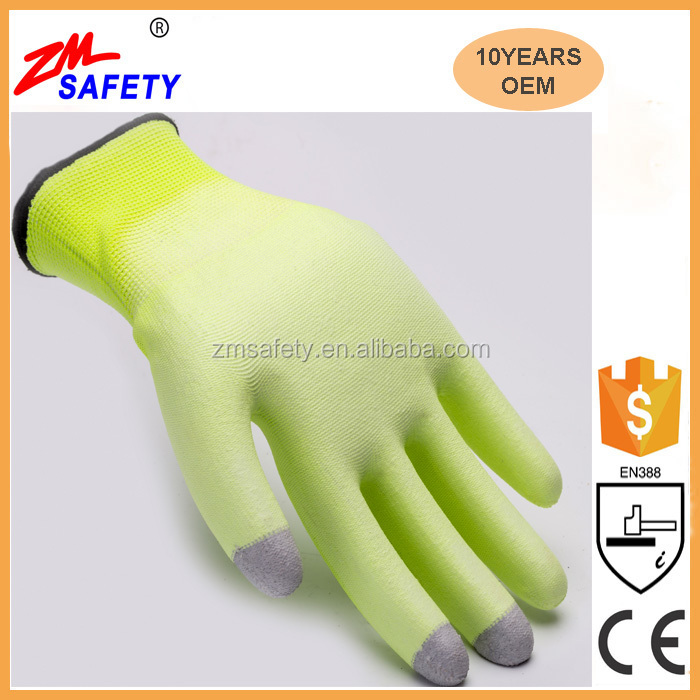 15 gauge Polyester PU Hand Phone Touch Screen Gloves