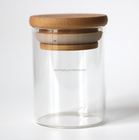 4 oz borosilicate glass jars with bamboo wooden suction lid