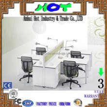 HOT Supply Economical 4 People Melamine Office Desk White Color with Comfortable Chair Desk
