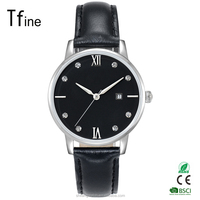 fashion lady slim watch with vogue crystal on dial and black leather band