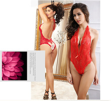 Red Mature Lingerie Sexy Lace Deep V Neck Women Erotic Underwear