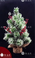 18 inch Iced Pine needle red berry clusters tree 2013