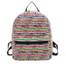 Cute kid primary students backpack, fashion new design wholesale hot sale simple new design canvas rainbow girls school bag