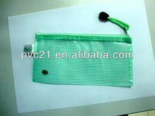 Frosty and clear pvc zipper mesh bag