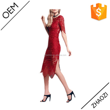 2016 women fashion lace dress designs wedding lace hollow out red sexy midi dress