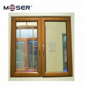 energy saving wood window double open turn and tilt with mullion and bug screen