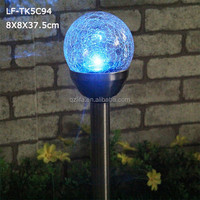 Color changing solar led garden light with glass ball
