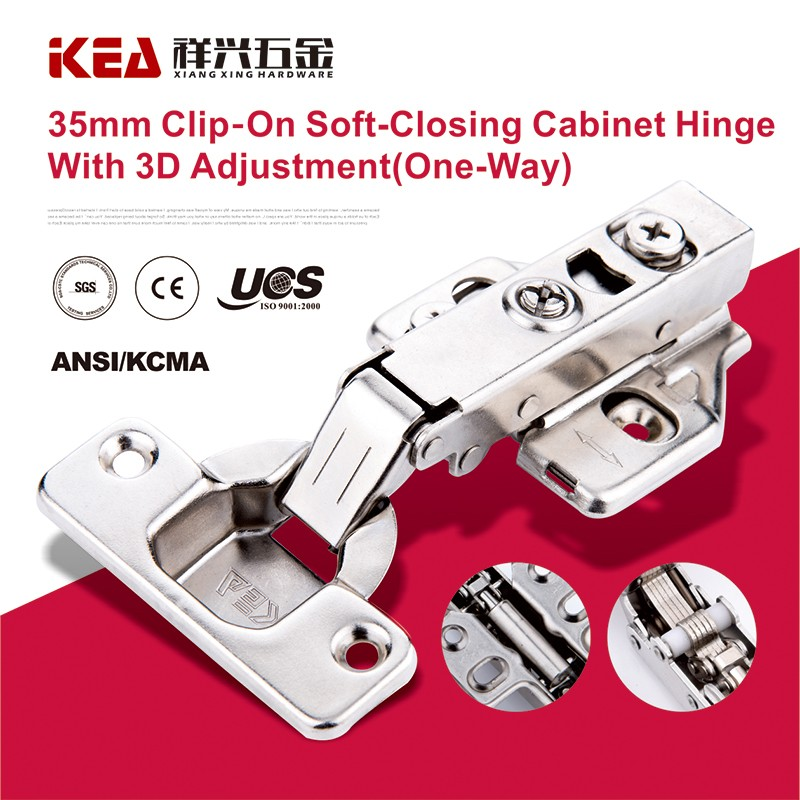 [K16] 35mm Cup Clip-on Cabinet Hinge 3D Adjusted One Way Buffering Hinge Cabinet