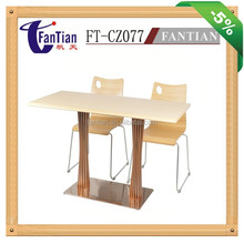 CZ077 New Brand wood top dining table and chair with stainless steel base wholesales