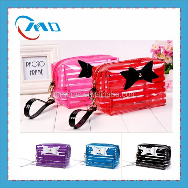 Stripe Pattern Fashionable Cosmetic Bag With Mirror