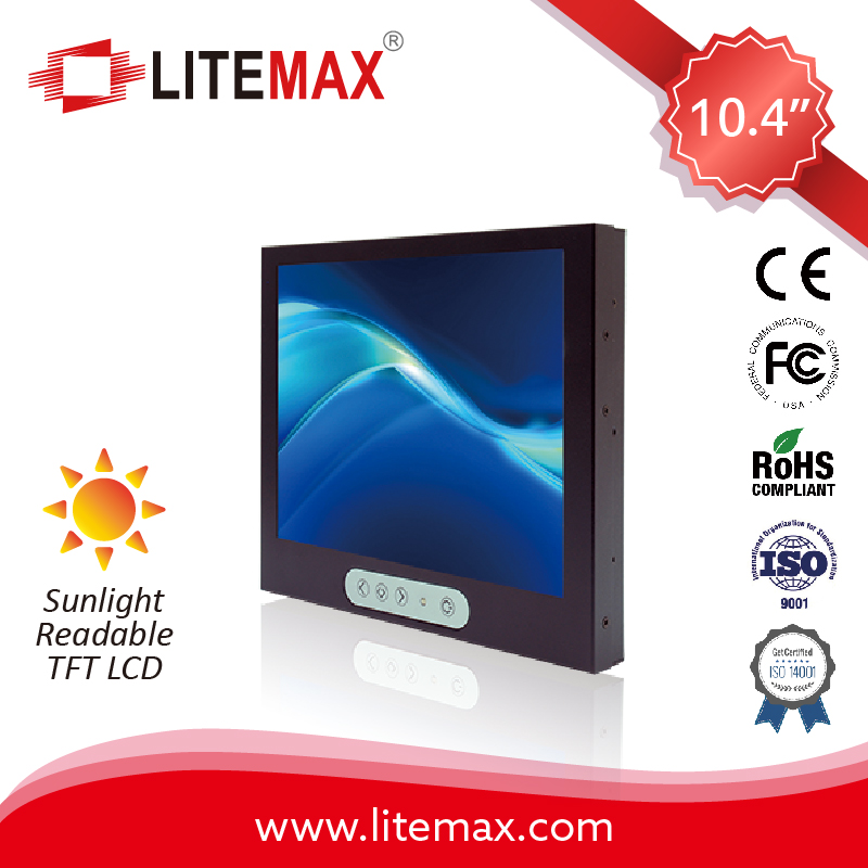 "LITEMAX 10.4"" TFT LCD Monitor, LED Backlight, 1600 or 2000 nits, 800x600, Wide Temp. Range"