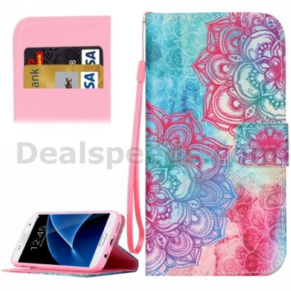 Wholsales best quality Tribal Flower Pattern Horizontal Flip wallet blank case for samsung s7 edge