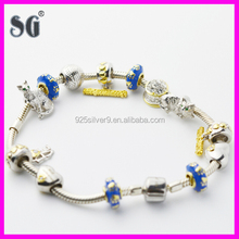 JuzhiJewelry Manufacturer Wholesale Animal Cat Enamel & Rhodium 925 Sterling Silver Manufacturer Charm Bracelets