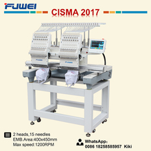 Fuwei 1502 2 heads second hand embroidery machine like tajima embroidery machine price for hat