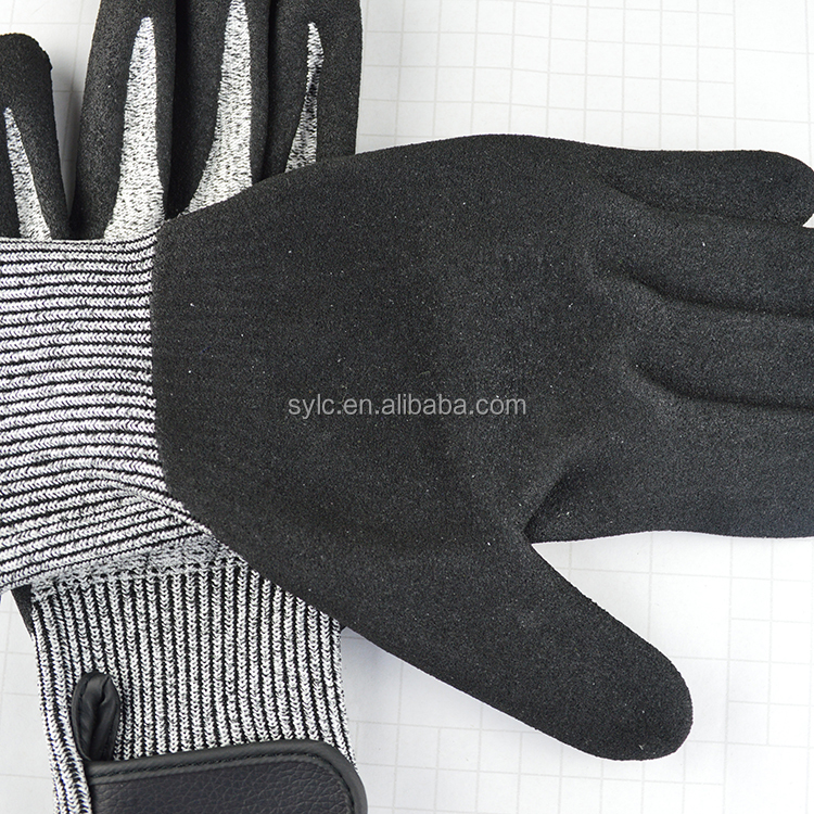 Black Nitrile Rubber Dipping Palm Safety Work Gloves