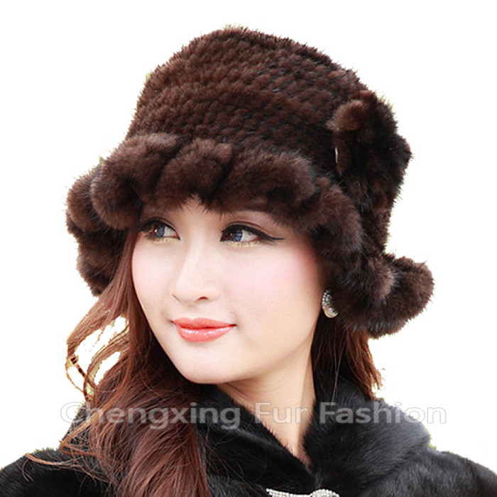 CX-C-13E New Ladies Fashion Russian Winter Mink Fur Knitted Beanie <strong>Hats</strong>