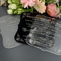 cutting clean square gold & black & silver acrylic wedding invitation card