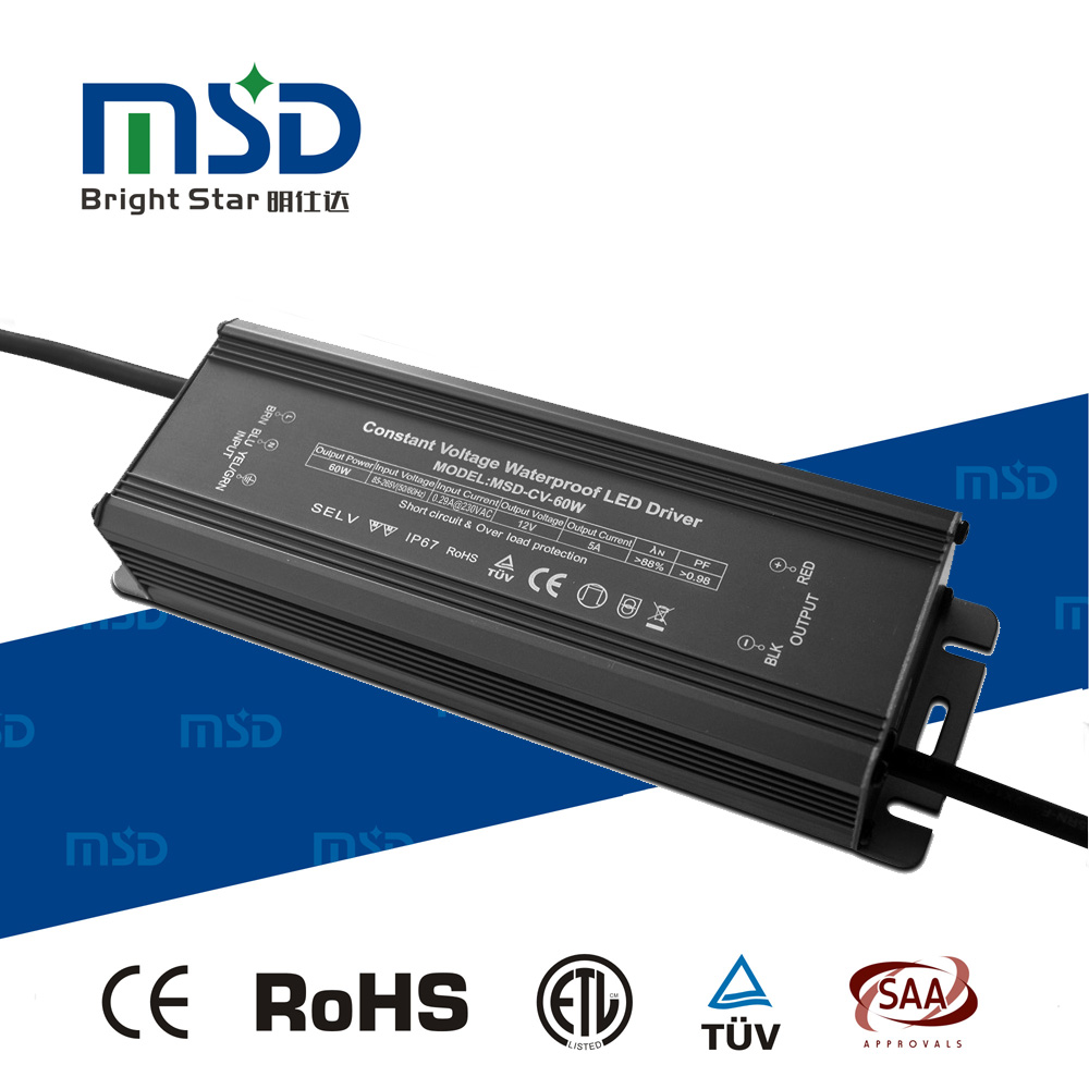 waterproof led driver IP67 for outdoor lights High PFC CV Led driver power 60W voltage supply 12V/24V/36V