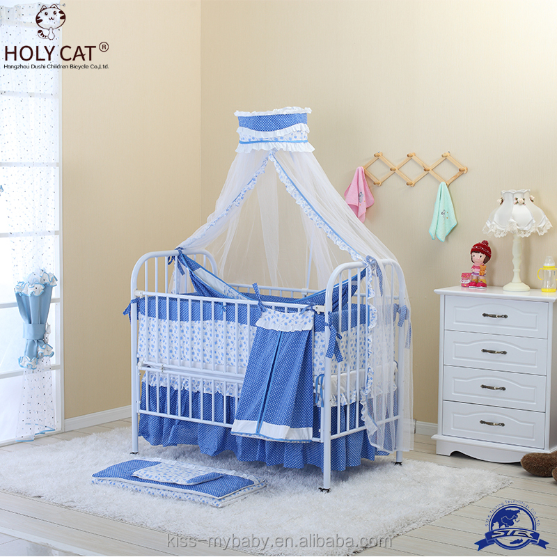 Detachable Iron baby crib baby bed cradle 4 wheels with swing bed