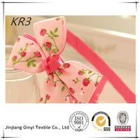 Flower Printed Grosgrain Ribbon Girl BOW HEADBAND