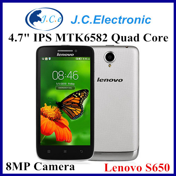 Original lenovo S650 MT6582 Quad Core Mobile Phone 4.7'' Gorilla Glass 8MP 1GB RAM 8GB ROM Android 4.2 3G WCDMA Multi Languages
