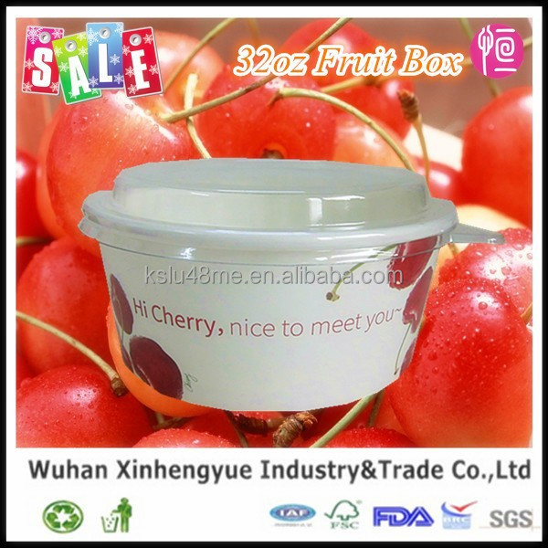 Custom Logo Printed Disposable Fruit Paper Bowls Box with PET Lids