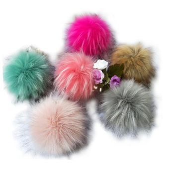 Detachable Faux Racoon Fur Pom Poms For Beanie Hat