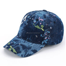 Classic Blue Adjustable Buckle Spray Lacquer Denim Fashion Baseball Cap