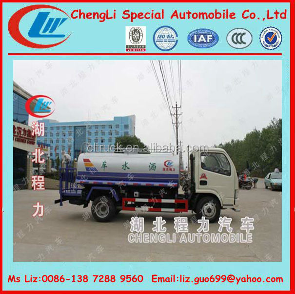 diesel engine 180 hp dongfeng light truck used water truck capacity 8 ton