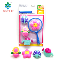Promotion Non-toxic Floating PVC Baby Bath Toys Set With Fishing net