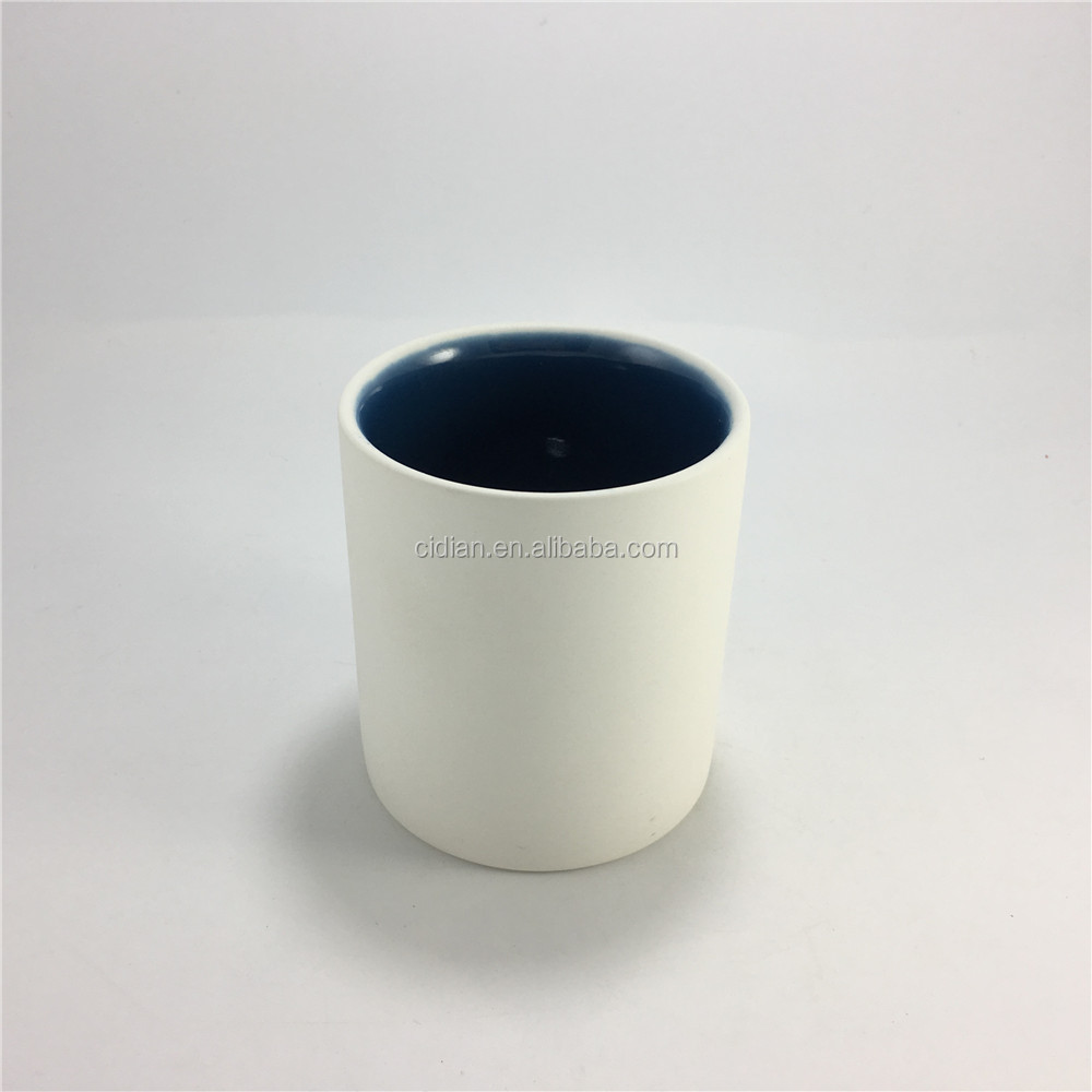 7 oz ceramic blue inside cylinder candle jar