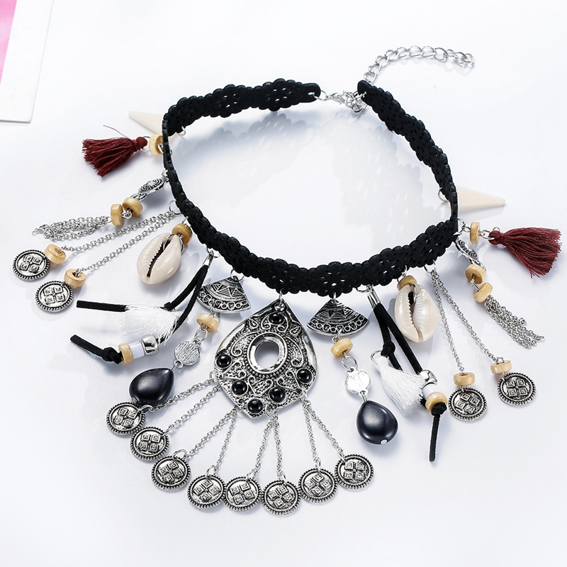 Spanish National Style Fashion Women Retro Ethnic Style Long Tassel Collar Necklace Costume Jewelry